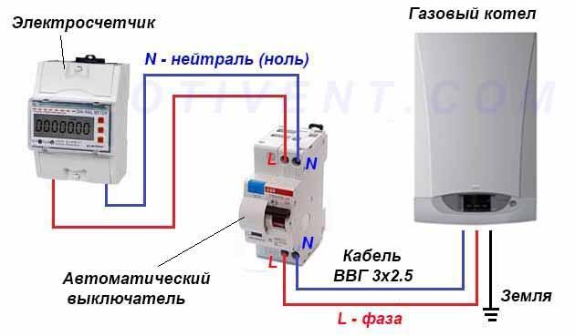 подключение газового котла к электросети